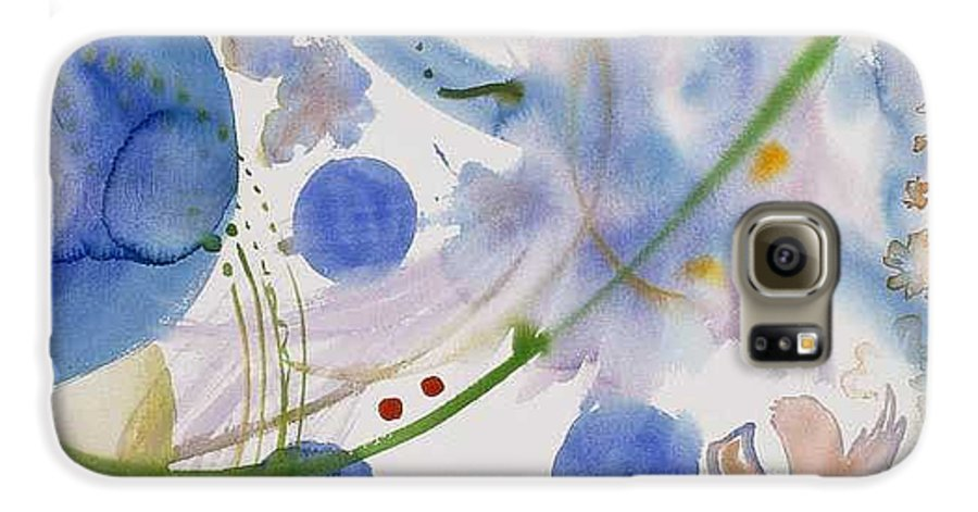 Abstract Galaxy S6 Case featuring the painting Lunar Galactic Convergence by Eileen Hale