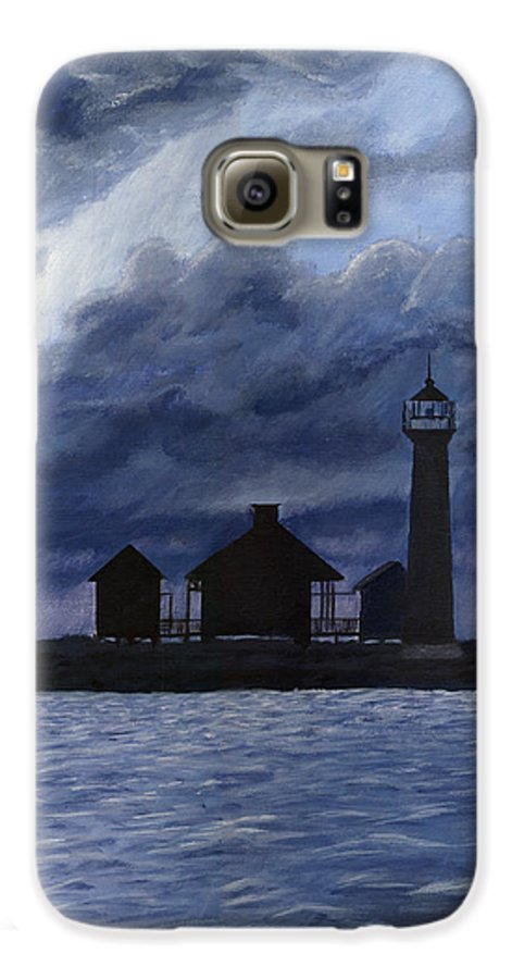 Landscape Galaxy S6 Case featuring the painting Lydia Ann Lighthouse by Adam Johnson