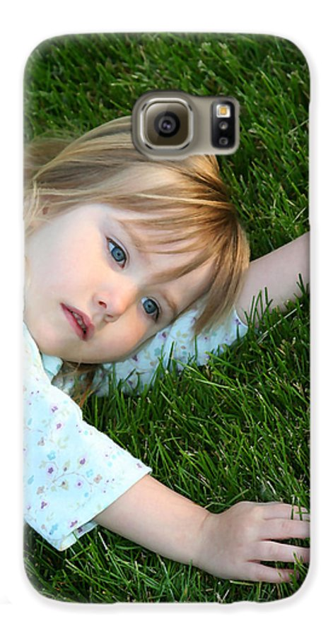 Girl Galaxy S6 Case featuring the photograph Lying In The Grass by Margie Wildblood