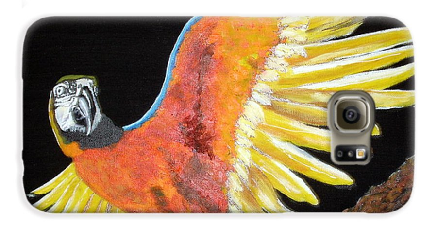 Macaw Galaxy S6 Case featuring the painting Macaw - Wingin' It by Susan Kubes