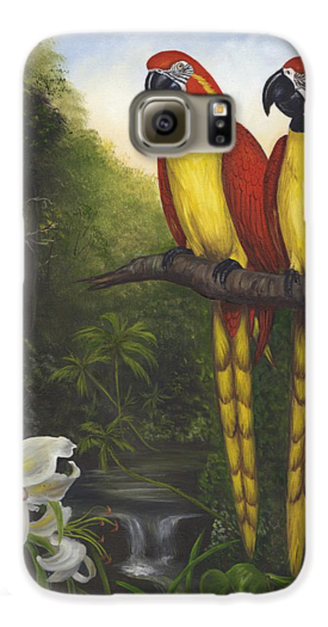 Landscape Galaxy S6 Case featuring the painting Macaws And Lillies by Anne Kushnick