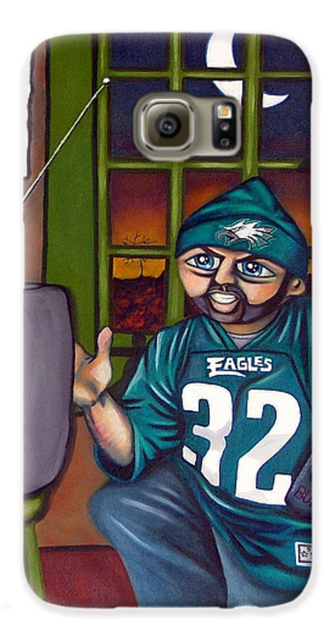 Philadelphia Galaxy S6 Case featuring the painting Mad Philly Fan In Texas by Elizabeth Lisy Figueroa