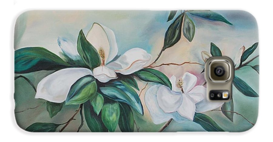 Flowers Galaxy S6 Case featuring the painting Magnolia Summer by Margaret Fortunato