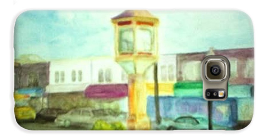 Clock Galaxy S6 Case featuring the painting Main Street by Sheila Mashaw