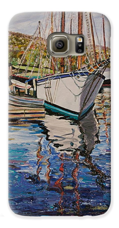 Maine Galaxy S6 Case featuring the painting Maine Coast Boat Reflections by Richard Nowak