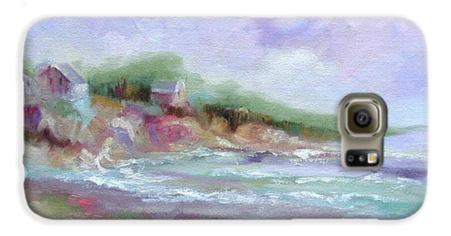 Maine Coastline Galaxy S6 Case featuring the painting Maine Coastline by Ginger Concepcion