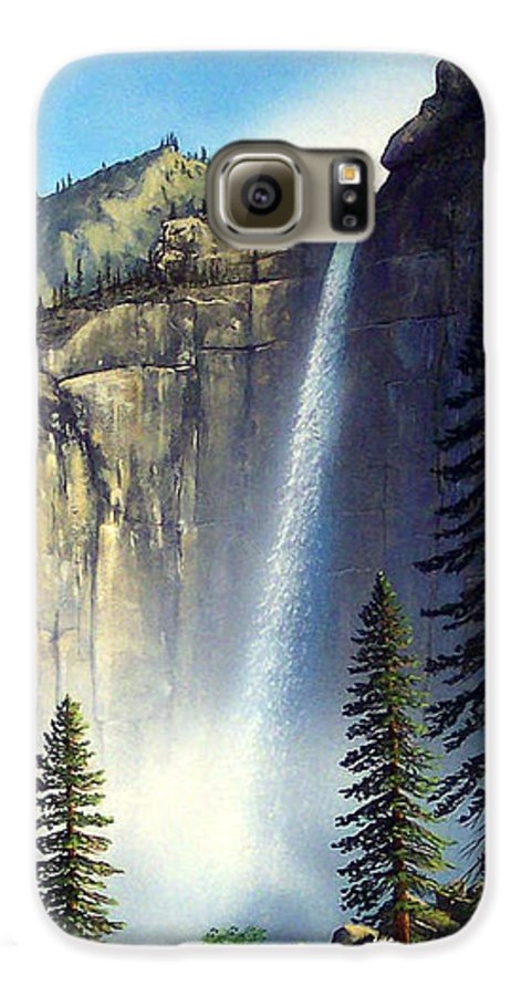 Landscape Galaxy S6 Case featuring the painting Majestic Falls by Frank Wilson