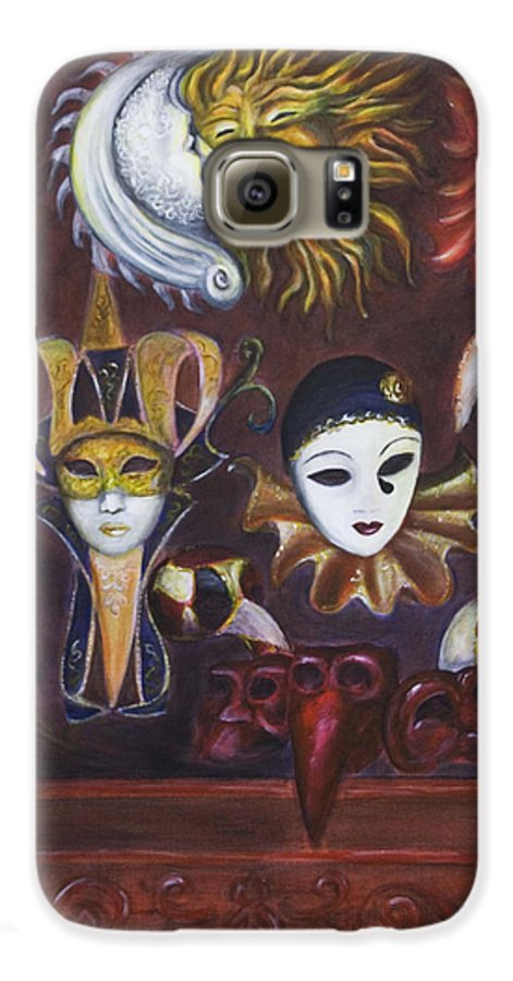 Masks Galaxy S6 Case featuring the painting Making Faces II by Nik Helbig