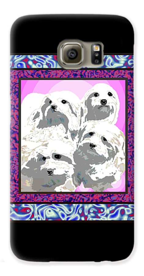 Maltese Group Galaxy S6 Case featuring the digital art Maltese Group by Kathleen Sepulveda