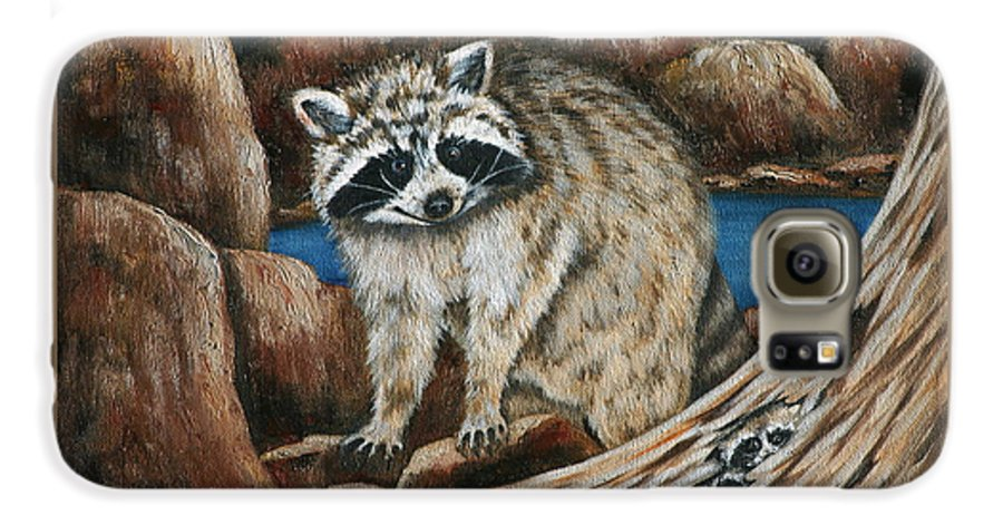 Racoon Galaxy S6 Case featuring the painting Mama Racoon by Ruth Bares