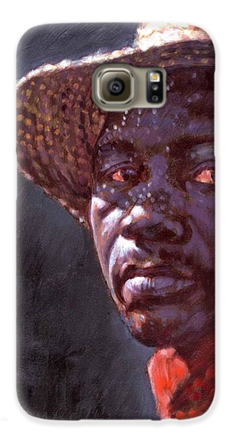 Black Man Galaxy S6 Case featuring the painting Man In Straw Hat by John Lautermilch