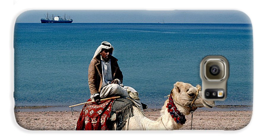 Dromedary Galaxy S6 Case featuring the photograph Man With Camel At Red Sea by Carl Purcell