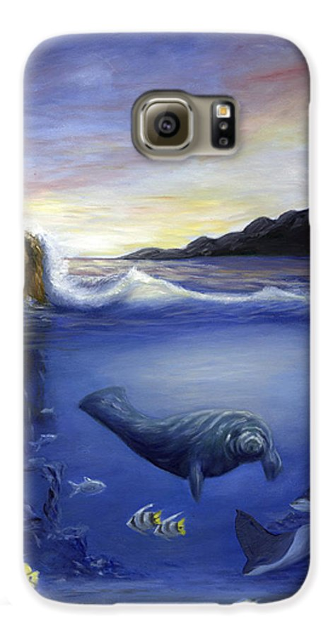 Seaworld Galaxy S6 Case featuring the painting Manatee by Anne Kushnick