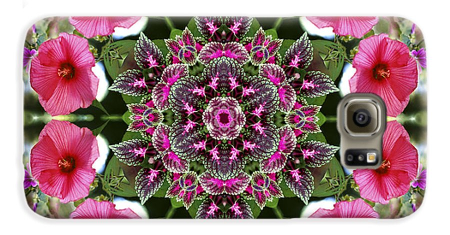 Mandala Galaxy S6 Case featuring the digital art Mandala Pink Patron by Nancy Griswold