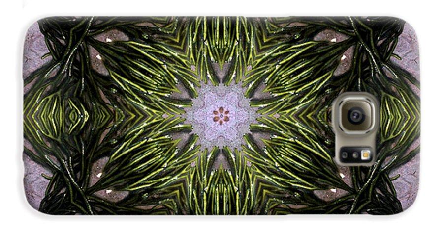 Mandala Galaxy S6 Case featuring the digital art Mandala Sea Sponge by Nancy Griswold