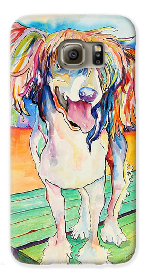 Chinese Crested Galaxy S6 Case featuring the painting Mango Salsa by Pat Saunders-White