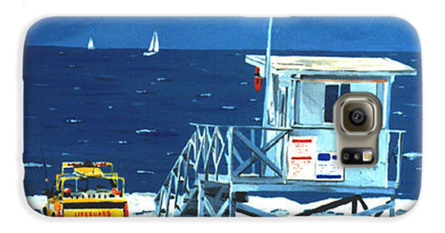 Modern Galaxy S6 Case featuring the painting Manhattan Beach Lifeguard Station by Lance Headlee