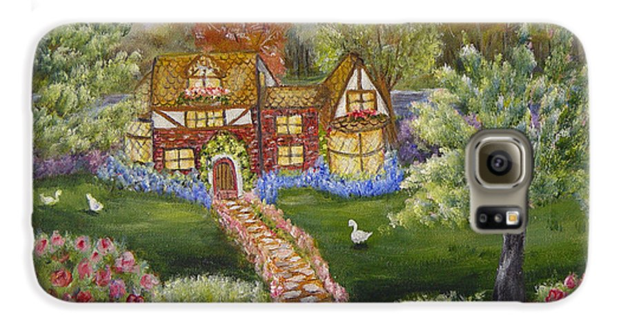 Landscape Galaxy S6 Case featuring the painting Manor Of Yore by Quwatha Valentine