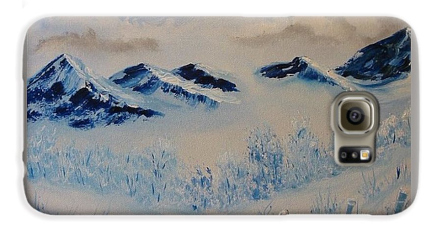 Blue Galaxy S6 Case featuring the painting Many Valleys by Laurie Kidd