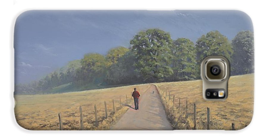 Landscape Galaxy S6 Case featuring the painting Mapledurham by Richard Picton