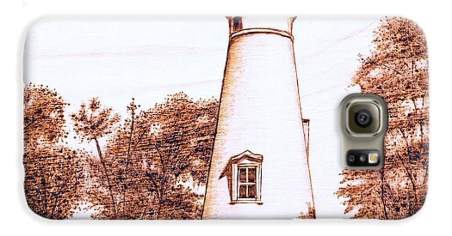 Lighthouse Galaxy S6 Case featuring the pyrography Marblehead Lighthouse by Danette Smith