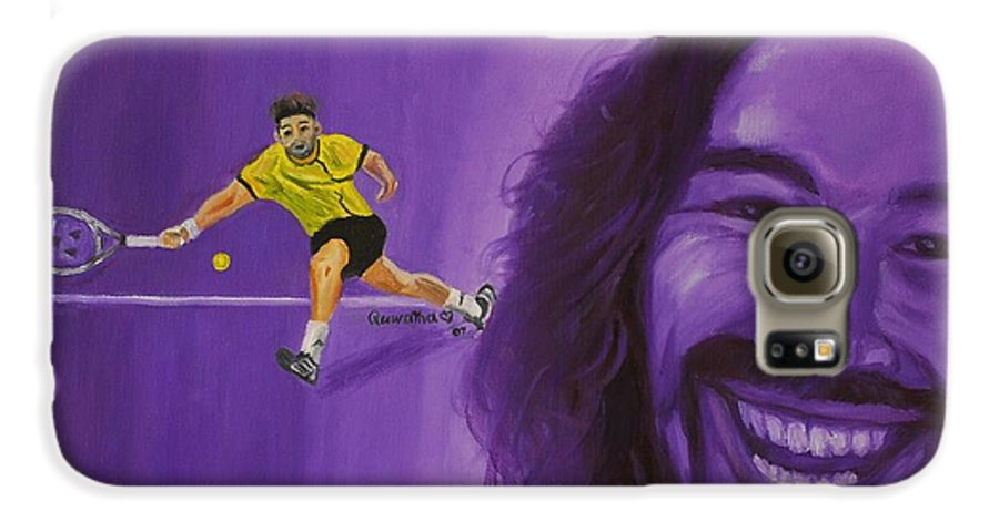 Marcos Galaxy S6 Case featuring the painting Marcos Baghdatis by Quwatha Valentine