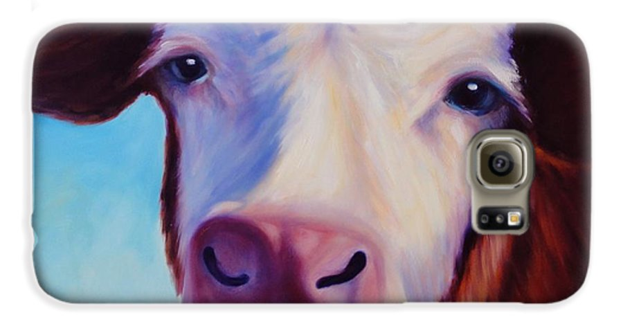 Cow Galaxy S6 Case featuring the painting Marie by Shannon Grissom