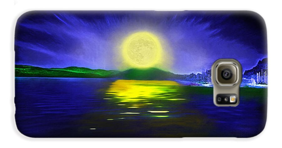 Couer D' Alene; Idaho; Lakes; Water; Night; Nighttime; Moonlight; Moonlit; Full Moon Galaxy S6 Case featuring the photograph Marina Moonrise by Steve Ohlsen