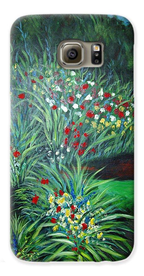 Landscape Galaxy S6 Case featuring the painting Maryann's Garden 3 by Nancy Mueller