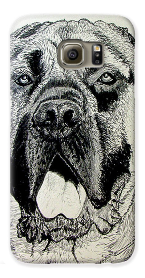 Mastiff Galaxy S6 Case featuring the drawing Mastiff by Stan Hamilton