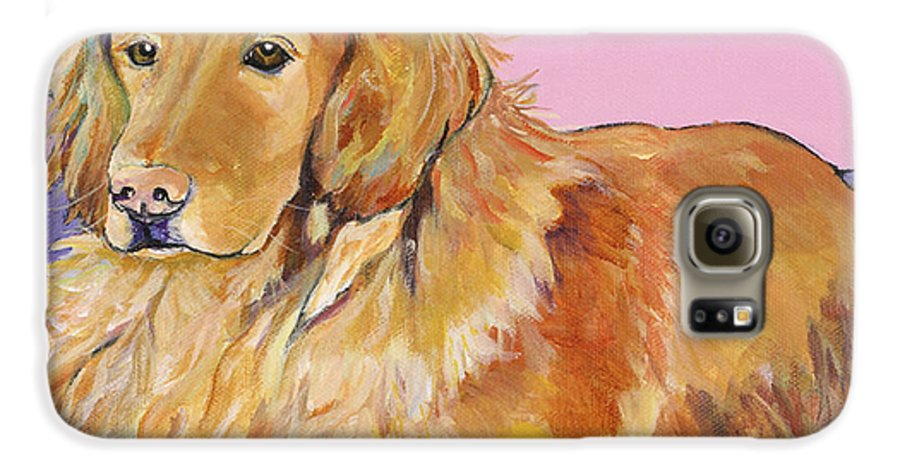 Golden Retriever Galaxy S6 Case featuring the painting Maya by Pat Saunders-White