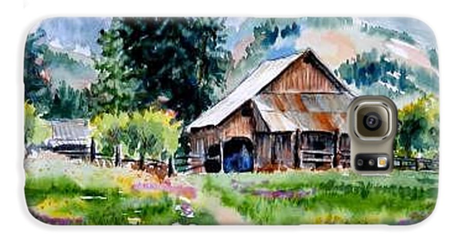 Barn Galaxy S6 Case featuring the painting Mcghee Farm by Lynee Sapere