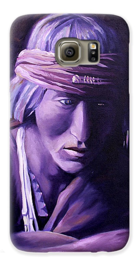 Native American Galaxy S6 Case featuring the painting Medicine Man by Nancy Griswold