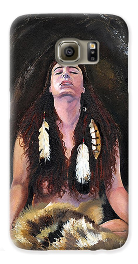 Southwest Art Galaxy S6 Case featuring the painting Medicine Woman by J W Baker