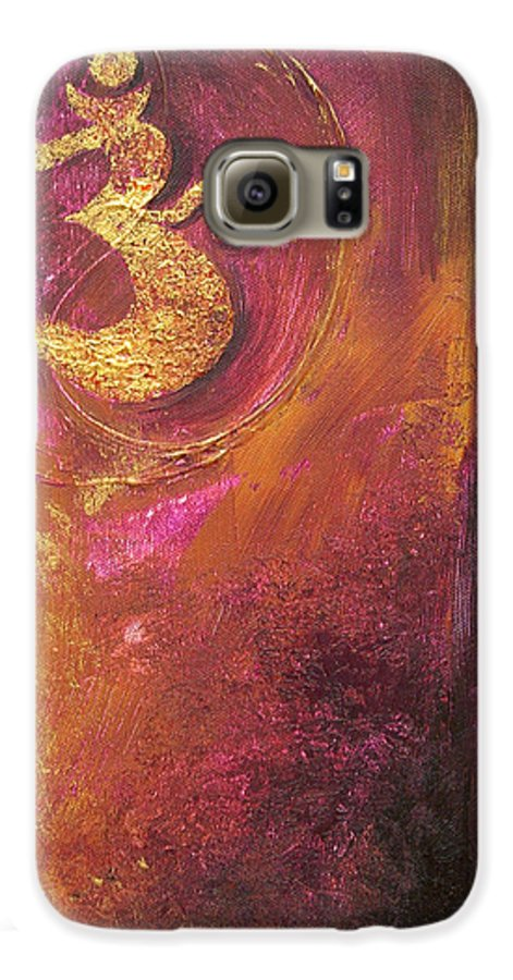 Ohm Om Mantra Yoga Spiritual Buddhist Meditationabstract Galaxy S6 Case featuring the painting Meditations by Dina Dargo