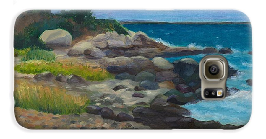 Landscape Galaxy S6 Case featuring the painting Meigs Point by Paula Emery
