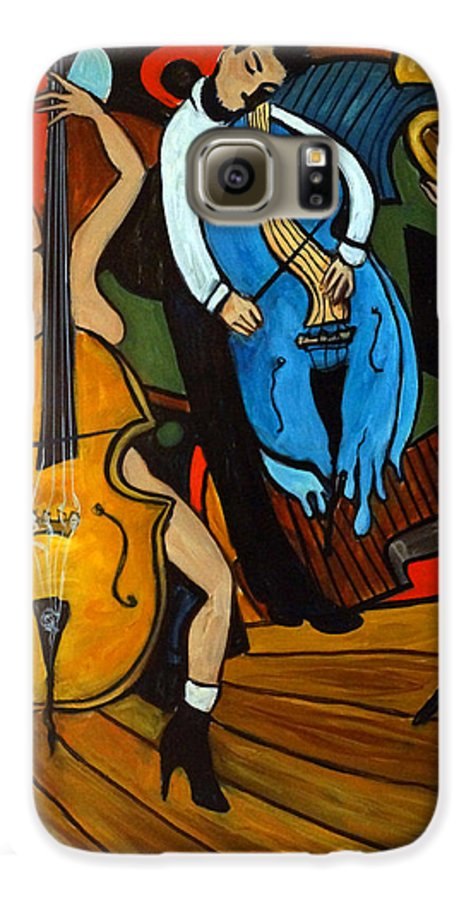 Musician Abstract Galaxy S6 Case featuring the painting Melting Jazz by Valerie Vescovi