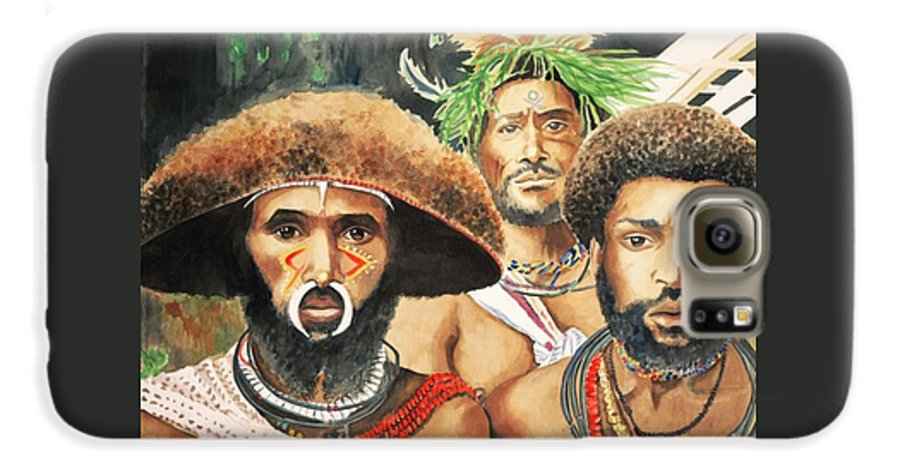 Men From New Guinea Galaxy S6 Case featuring the painting Men From New Guinea by Judy Swerlick