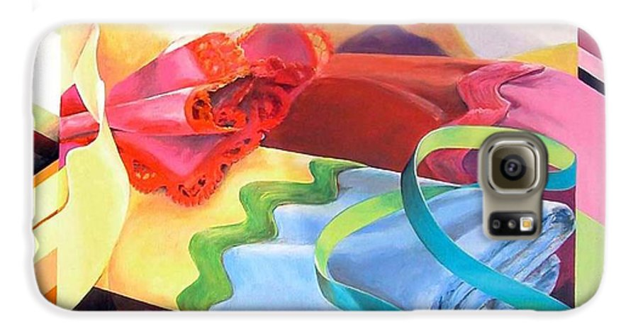Still Life Galaxy S6 Case featuring the painting Mercerie by Muriel Dolemieux