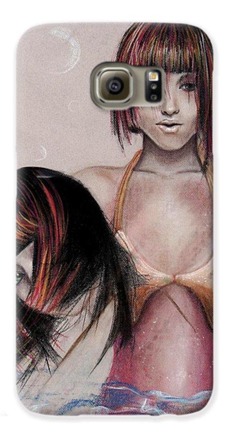 Mermaid Galaxy S6 Case featuring the drawing Mermaid Emerging by Maryn Crawford
