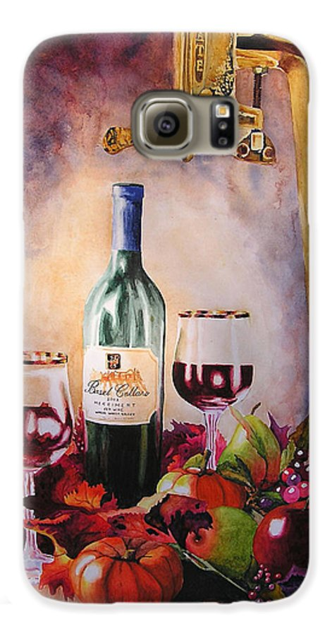 Wine Galaxy S6 Case featuring the painting Merriment by Karen Stark