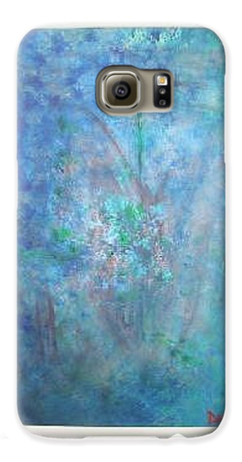 Metal Galaxy S6 Case featuring the painting Metal And Water Abstract. by Lizzy Forrester