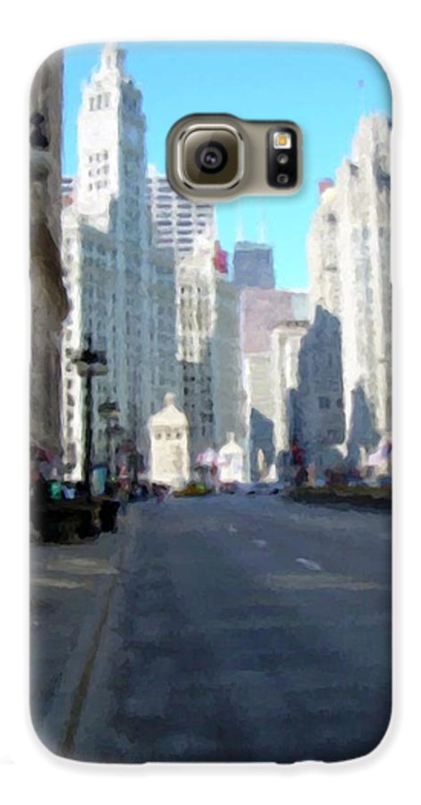 Chicago Galaxy S6 Case featuring the digital art Michigan Ave Tall by Anita Burgermeister