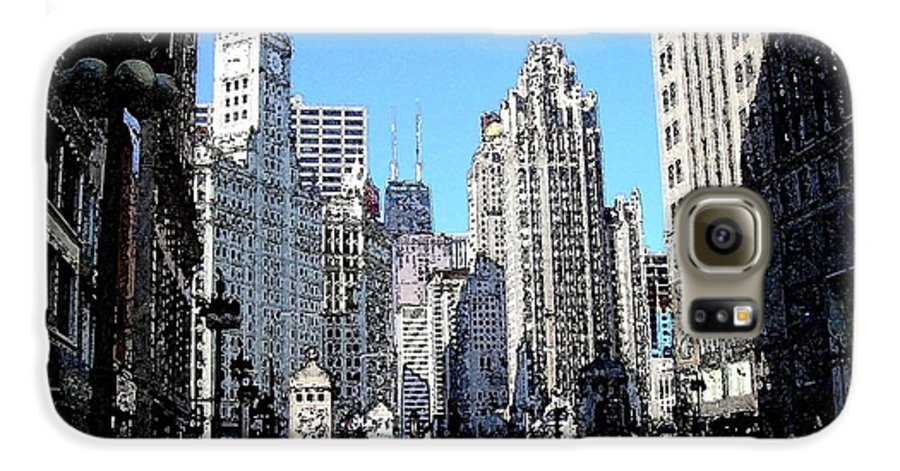 Chicago Galaxy S6 Case featuring the digital art Michigan Ave Wide by Anita Burgermeister