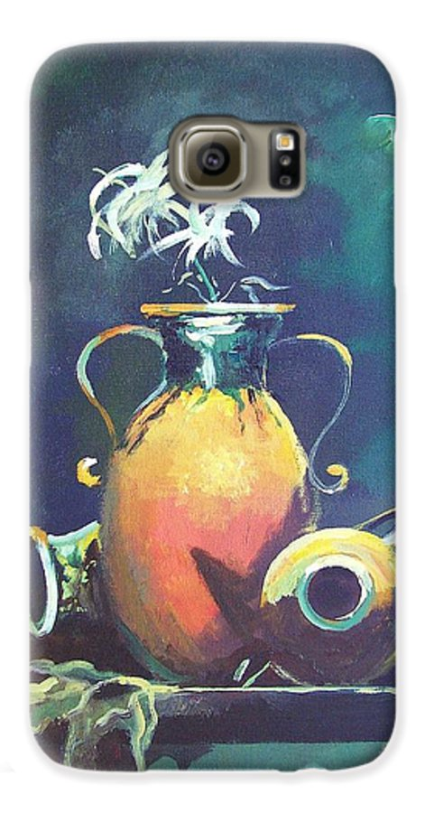 Still Life Galaxy S6 Case featuring the painting Midnight Moon by Sinisa Saratlic