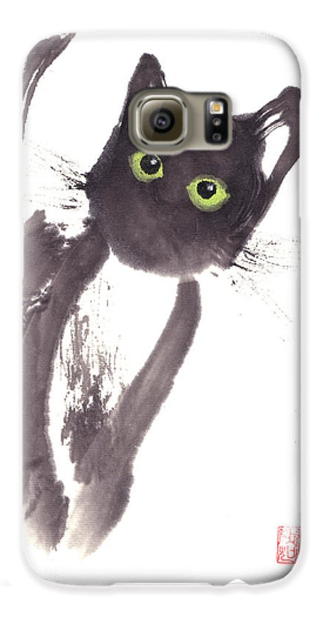 A Curious Black Kitten. This Is A Contemporary Chinese Ink And Color On Rice Paper Painting With Simple Zen Style Brush Strokes.  Galaxy S6 Case featuring the painting Midnight by Mui-Joo Wee