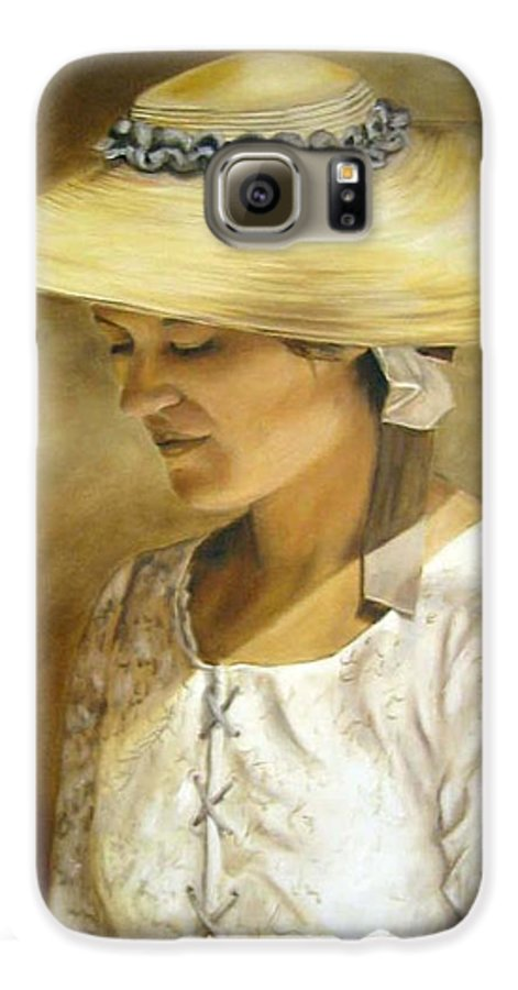 Portrait Galaxy S6 Case featuring the painting Milliners Daughter by Anne Kushnick