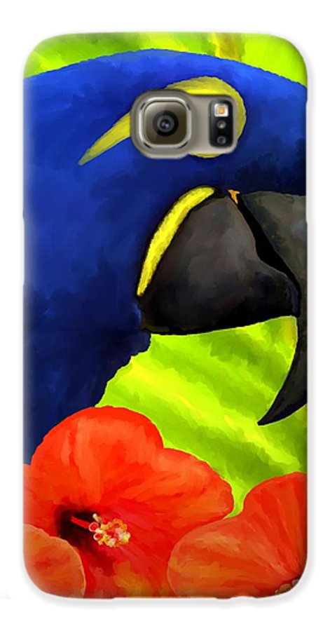 Hyacinth Macaw Galaxy S6 Case featuring the painting Mimi by David Wagner