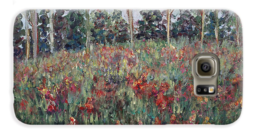 Landscape Galaxy S6 Case featuring the painting Minnesota Wildflowers by Nadine Rippelmeyer
