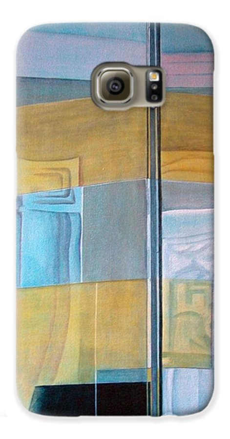 Miroir Galaxy S6 Case featuring the painting Miroir by Muriel Dolemieux